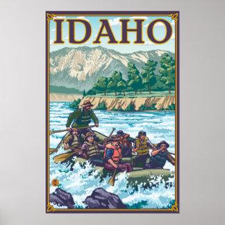 Agua blanca que transporta en balsa - Idaho Poster