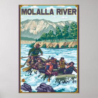 Agua blanca que transporta en balsa - río de Molal Póster