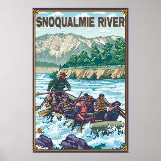 Agua blanca que transporta en balsa - río de Snoqu Póster