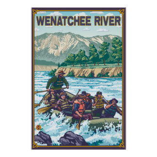 Agua blanca que transporta en balsa - río de Wenat Póster