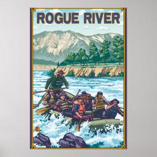 Agua blanca que transporta en balsa - río del gran poster