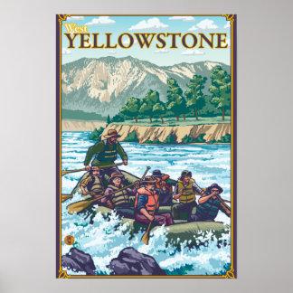 Agua blanca que transporta en balsa - Yellowstone  Póster