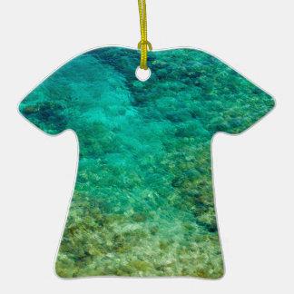 Agua clara baja con el coral adorno de cerámica en forma de camiseta