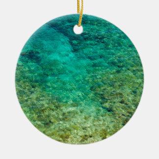Agua clara baja con el coral adorno redondo de cerámica