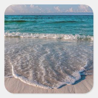 agua cristalina de la Florida en la playa Pegatina Cuadrada