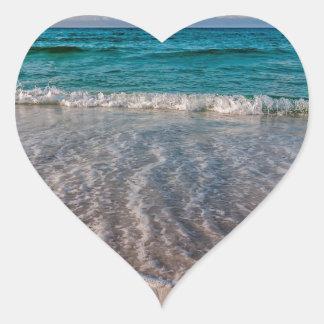 agua cristalina de la Florida en la playa Pegatina En Forma De Corazón