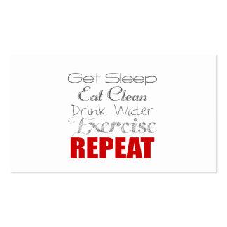 Agua de la bebida, ejercicio y tarjeta personal