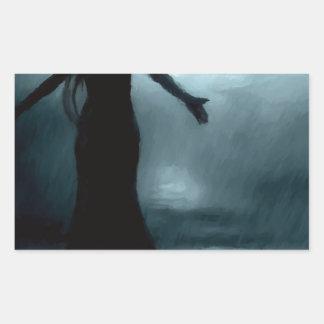 agua de lluvia morrigan del cuervo del cuervo de pegatina rectangular
