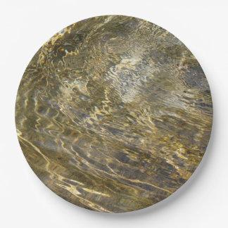 Agua de oro de la fuente plato de papel de 9 pulgadas