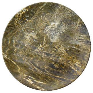Agua de oro de la fuente platos de cerámica