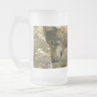 Agua de Pawing del lobo Taza Cristal Mate