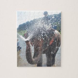 Agua de rociadura del elefante puzzles con fotos