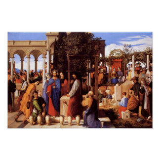 Agua de torneado de Jesús en el vino (2:1 de Juan  Póster