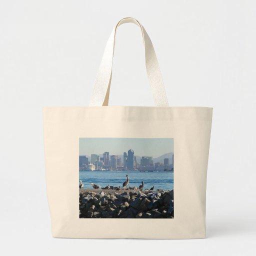 Agua del horizonte de la ciudad de los pájaros de  bolsa tela grande