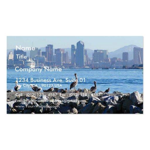 Agua del horizonte de la ciudad de los pájaros de  tarjetas de visita