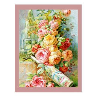 Agua del perfume de la Florida con los rosas de la Tarjeta Postal