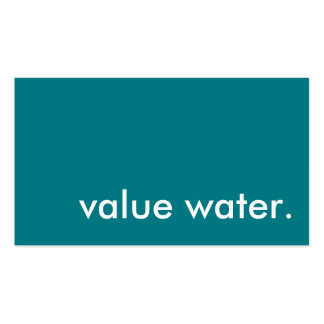agua del valor tarjetas de visita