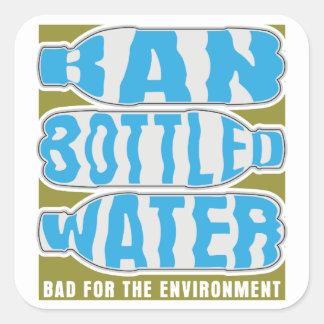 Agua embotellada de la prohibición colcomanias cuadradases
