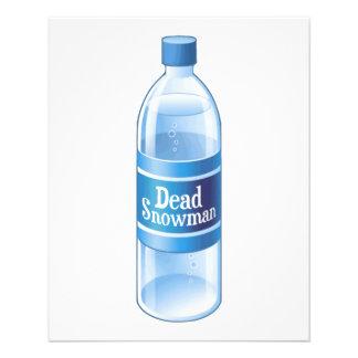Agua embotellada derretida muñeco de nieve muerto tarjetas publicitarias