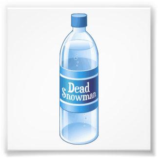 Agua embotellada derretida muñeco de nieve muerto arte con fotos