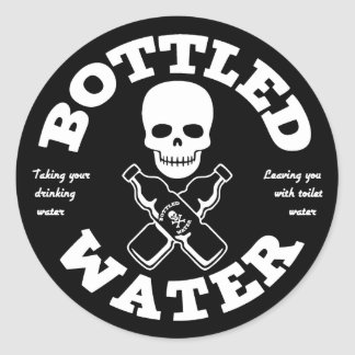 Agua embotellada pegatina redonda