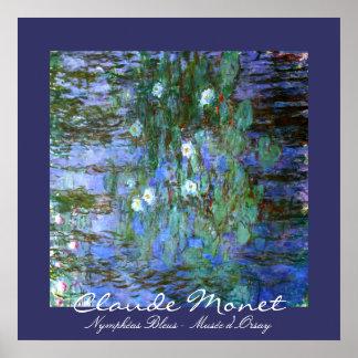 Agua-Lillies azul Claude Monet Impresiones