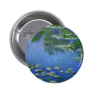 Agua Lillies de Monet Pin Redondo De 2 Pulgadas