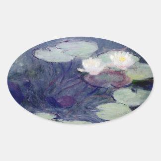 Agua-Lirios rosados: 1897-99 de Monet Pegatina Ovalada