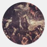 Agua llamativa de Moses de la roca por Tintoretto Etiquetas Redondas