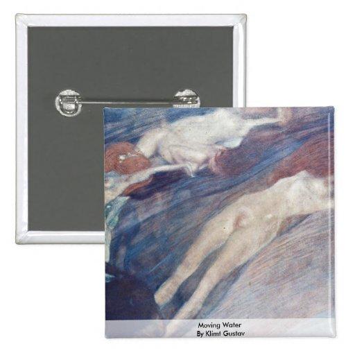 Agua móvil de Klimt Gustavo Pin Cuadrada 5 Cm