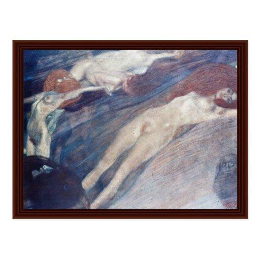 Agua móvil de Klimt Gustavo Postales