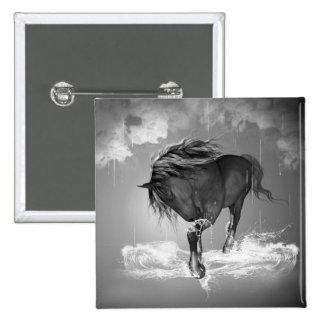 Agua potable del caballo hermoso chapa cuadrada 5 cm