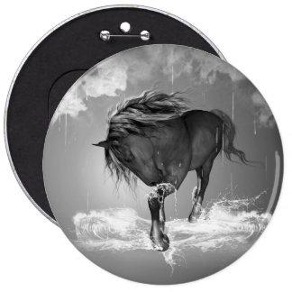 Agua potable del caballo hermoso chapa redonda 15 cm