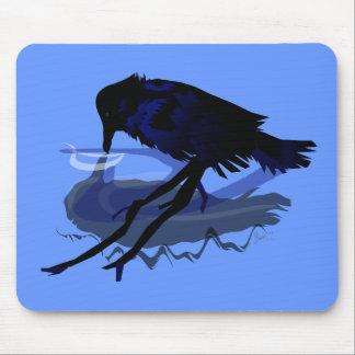 Agua potable del cuervo con su reflexión tapete de ratones