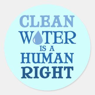 Agua potable pegatina redonda