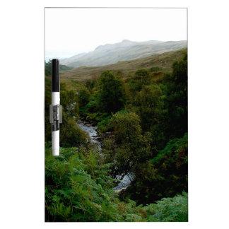 Agua pura de la corriente del bosque tablero blanco