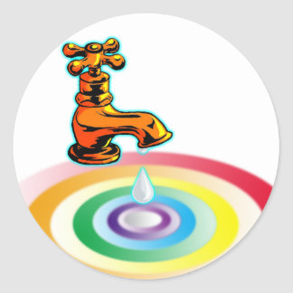 Agua pura pegatina redonda
