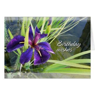 Agua púrpura/tarjetas de cumpleaños negras del tarjeta de felicitación