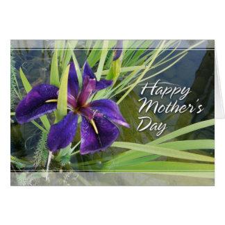 Agua púrpura/tarjetas negras del día de madres del tarjeta de felicitación