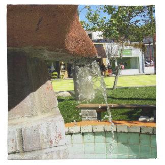 Agua que cae de una fuente servilletas