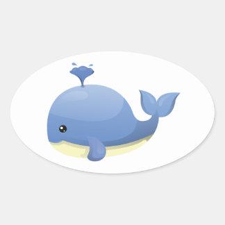 Agua que echa en chorro linda de la ballena azul pegatina ovalada
