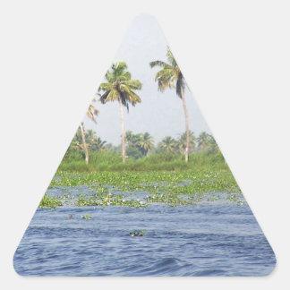 Agua que ondula en la laguna costera pegatina triangular