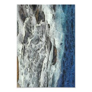 "Agua que se estrella sobre rocas invitación 3.5"" x 5"""