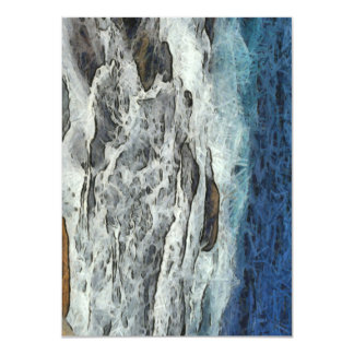 "Agua que se estrella sobre rocas invitación 4.5"" x 6.25"""