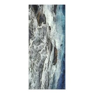 "Agua que se estrella sobre rocas invitación 4"" x 9.25"""
