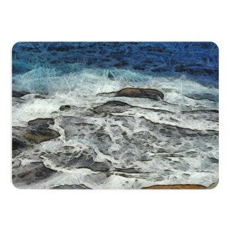 "Agua que se estrella sobre rocas invitación 5"" x 7"""