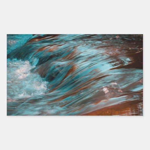 agua roja y azul rectangular pegatinas