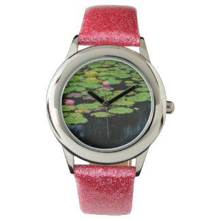agua rosada del negro del loto relojes de mano