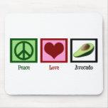 Aguacate del amor de la paz alfombrilla de ratón