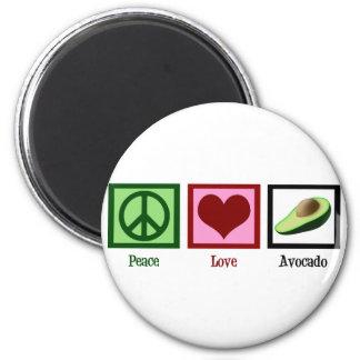 Aguacate del amor de la paz imán redondo 5 cm